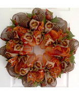 Thanksgiving Turkey Ribbon Deco Mesh Handmade Wreath - $89.99