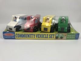Melissa & Doug Community Vehicle Set. 4 Vehicles. 4 Figures. New, Sealed. - $10.37