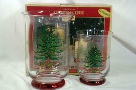 Spode 2018 Christmas Tree Set Of 2 Hurricane Candle Holders In Box - $34.64