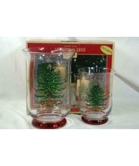 Spode 2018 Christmas Tree Set Of 2 Hurricane Candle Holders In Box - $31.49