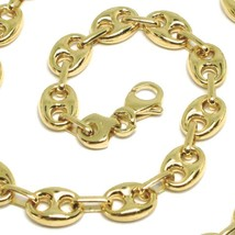 18K YELLOW GOLD MARINER BRACELET BIG 8 MM, 8.3 INCHES, ANCHOR ROUNDED OVAL LINK image 2