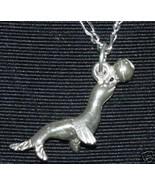SALE Silver Circus Seal Pendant Charm Sea Creature Jewelry - $13.39