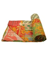 Vintage Heavy Kantha Quilt Gudri Reversible Throw Ralli Bedspread Beddin... - $56.05