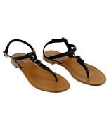Prada Women's Black Gladiator Thong Flip Flop Buckle Stud Sandals Leathe... - $275.99