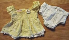 Girl's Size 6/9 M Month 2 Piece Dress Set Yellow Floral & Eyelet Dress T... - $13.00
