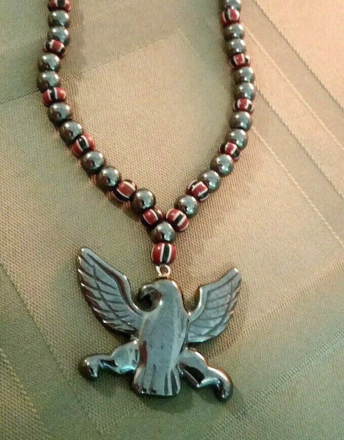 Vintage Trade Bead & Hematite Necklace with Carved Eagle, Natural Stone