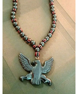 Vintage Trade Bead & Hematite Necklace with Carved Eagle, Natural Stone - $17.81