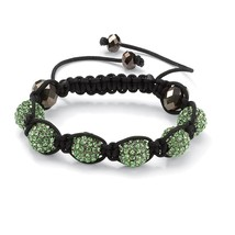 "Green Crystal Beaded Macrame Rope Adjustable Bracelet 8"" - $12.88"