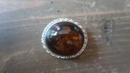 Vintage Sterling Silver Amber Brooch 2.9cm - $23.75