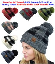 NEW! CC Beanie Soft Stretch Pom Pom Fuzzy Lined Buffalo Plaid Cuff Beani... - $13.09+