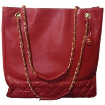 Vintage CHANEL lipstick red calf leather large tote bag with gold tone c... - $1,352.00