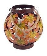 "15"" Brown, Yellow and Orange Autumn Harvest Maple Leaf Pillar Candle Lan... - $38.57"