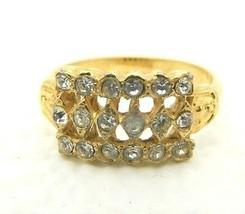 VTG Gold Tone Three Row Eighteen Clear Rhinestone Ring Size 8 - $19.80