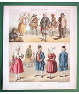 FRANCE French Costume of Saone & Loire - 1888 COLOR Print A. Racinet - $9.45