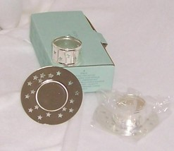 PartyLite Glowing Star Gift Set. Silver Plate Tealight Holder/Napkin Rin... - $5.95