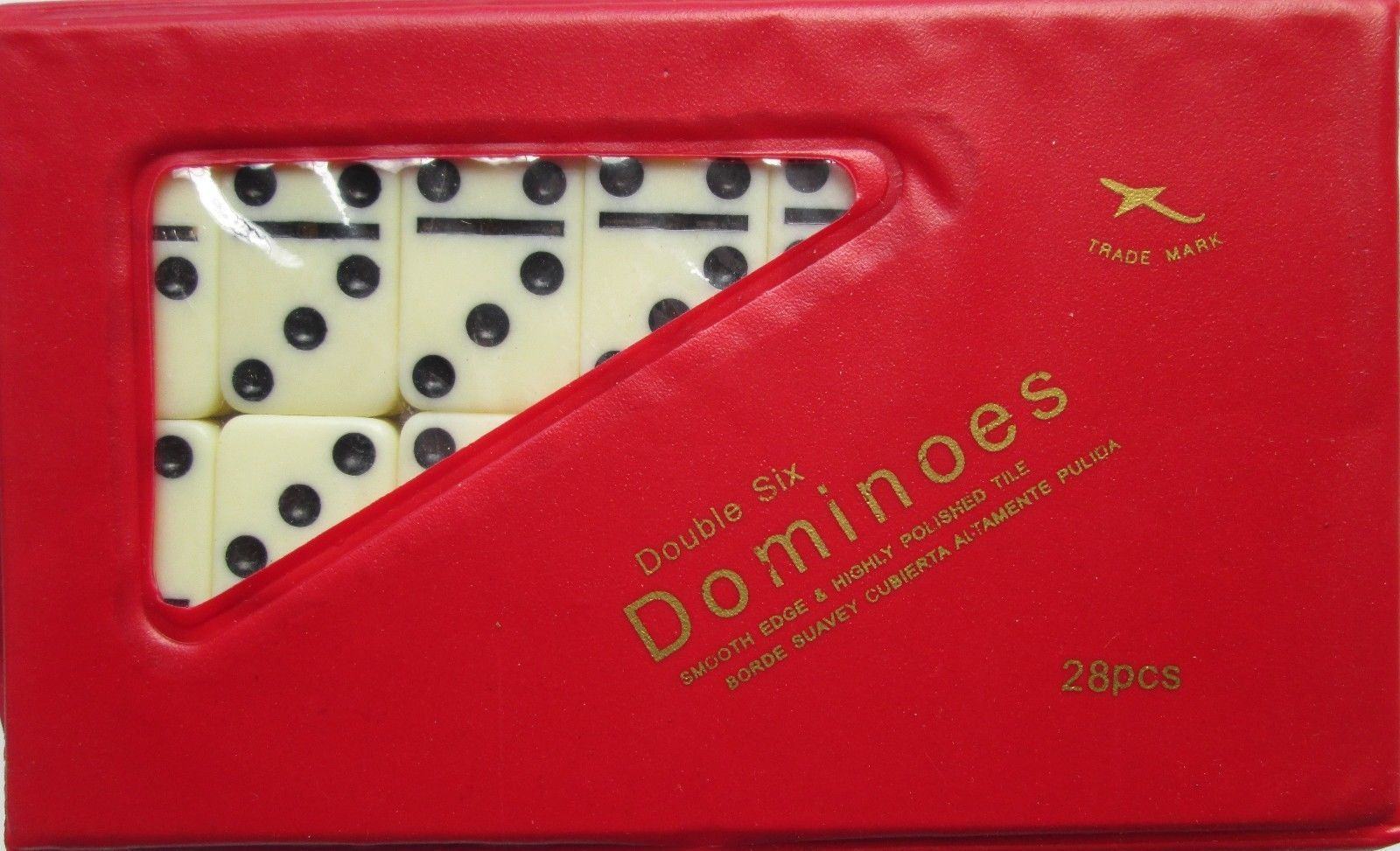 Double Six Mini Dominoes Dominos Set of 28 Ivory Color Tiles with Red Case