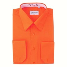 BERLIONI ITALY MEN'S PREMIUM FRENCH CONVERTIBLE CUFF SOLID DRESS SHIRT ORANGE