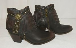Lucky And Blessed SH 11 Dark Brown Leather Boots Fringe Metal Studs Size 6 image 3