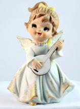 Vintage porcelain girl angel with lute mandolin... - $18.00