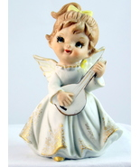 Vintage porcelain girl angel with lute mandolin... - $18.00