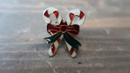 "Vintage 1"" Enamel Candy Cane Christmas Lapel Pin - $9.89"