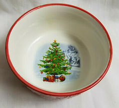 Earthenware Soup Salad Cereal Bowl Christmas Holiday Design White Red - $26.99