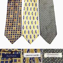 LOT 3 Tie Christian Dior Fredrick Pierre Cardin  Gold Blue All Silk Ties... - $12.55
