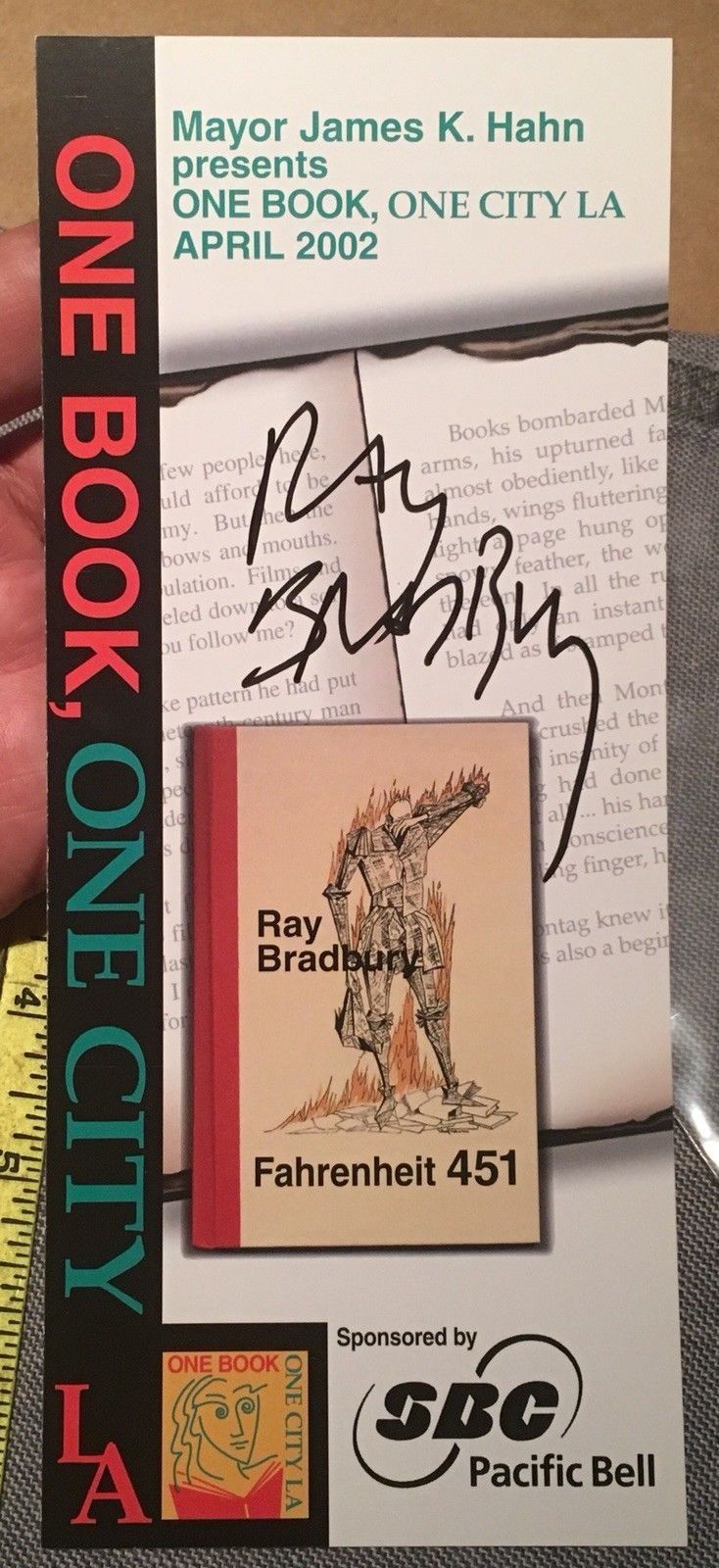 FAHRENHEIT 451 Official One Book One City LA Ray Bradbury SIGNED - Signature COA