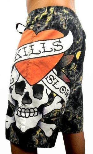 Ed Hardy by Christian Audigier Men's Board Shorts Trunks Love Kills