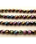 50 4mm Czech Glass Fire Polished Beads: Iris - Purple - $2.14