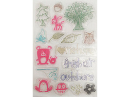 Cute Nature Clear Stamp Set, Includes Trees, Animals, and Sentiments