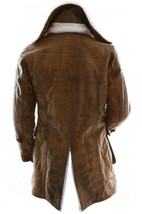 Bane Dark Knight Rises Jacket Genuine Leather Fur Buffing Brown Trench Coat image 3