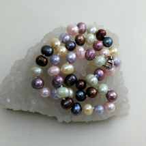 """Palm Beach Pearl Necklace Hand Knotted, Multi-Colored 10-12 mm pearls, New 18"""" image 6"""