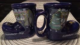 Pair Chicago Christkindlmarket Boot Mugs Christmas 2007 - $12.38