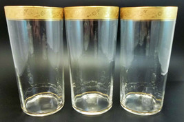 Antique Tifin Gold Encrusted Iced Tea Glass Lot 3 Water Glasses Bar  - $28.71