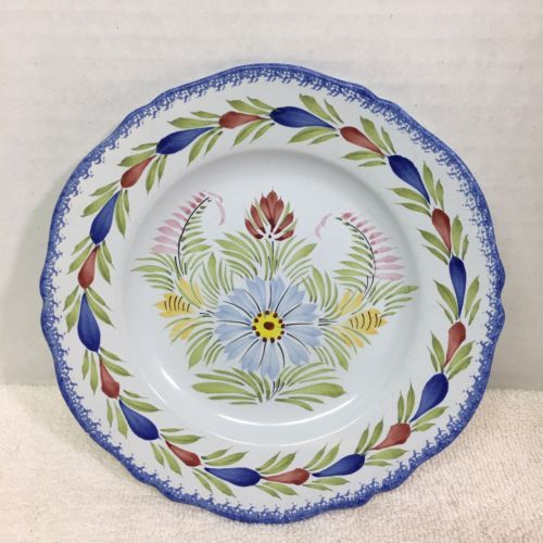 "Primary image for Quimper Fleur Royal Bread & Butter Plate 7"" Floral Blue Back Good Shape Plate D"