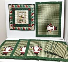 "Vintage Set Mixed Lot 4 Christmas Santa Placemats 3 Napkins 1 Square 14""... - $24.09"