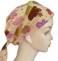 Cupcake Lover Cancer Chemotherapy Hat Alopecia Hair loss Cotton Scarf Tu... - $16.95