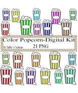 Color Popcorn Digital Kit 4-Digtial Paper-Food-Art ClipJewelry-T shirt-N... - $3.99