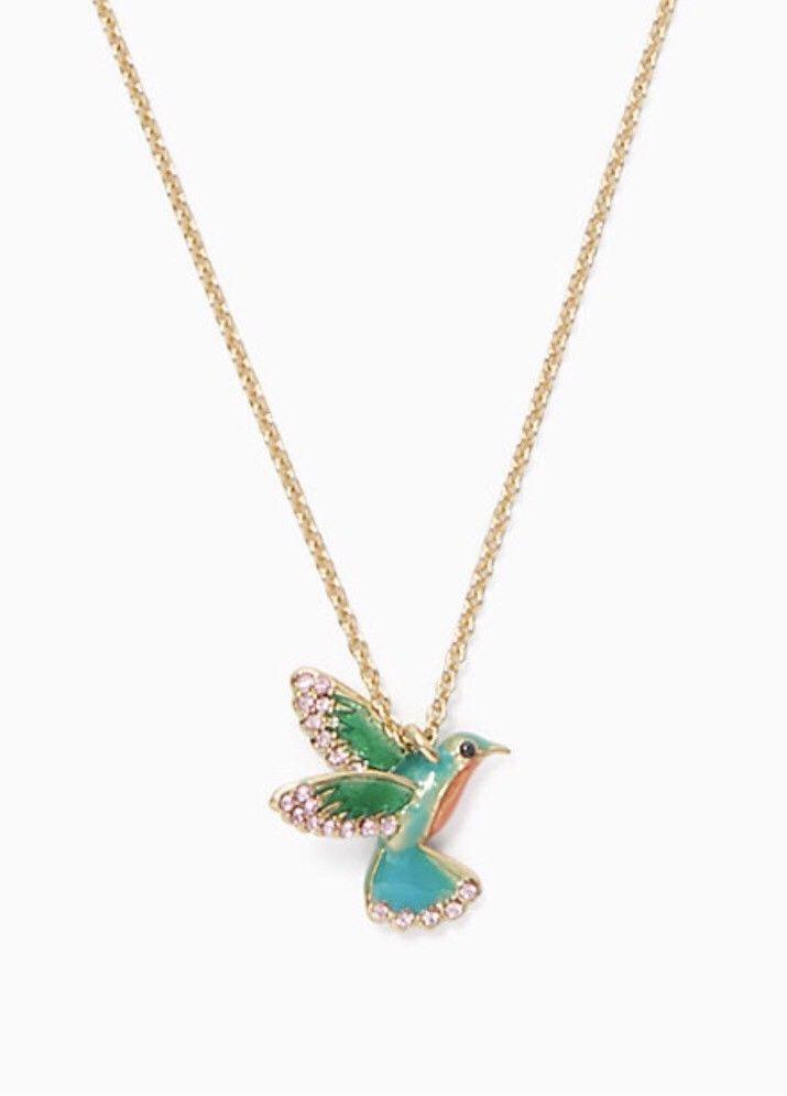 KATE SPADE NEW YORK Scenic Route Hummingbird Mini Pendant Necklace w/KS Dust Bag - $31.99