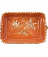 Vintage Portuguese Traditional Clay Terracotta Pottery Roasting Tray Caz... - $50.18