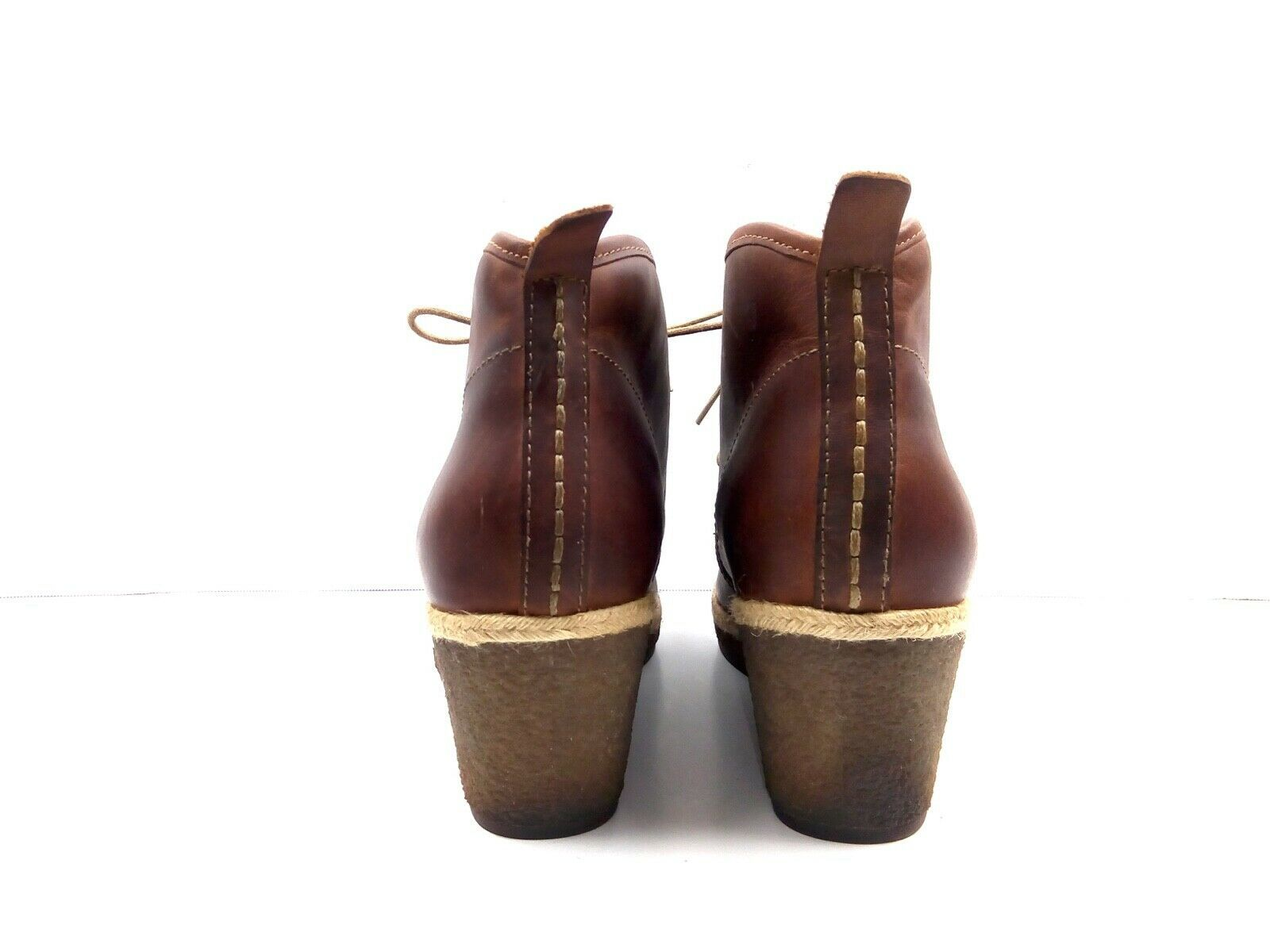 Olukai Women's Booties Wali Wedges Leather Apron toe Ankle Boots EUR 37.5 US 7.5
