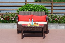 2 PC Rattan Loveseat Sofa Table Furniture Bistro Set Outdoor Wicker Pati... - $169.99