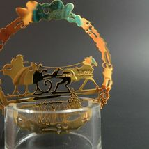 Vintage Sleigh Ride Christmas Ornament Hallmark Gold Metal Etched Embossed Scene image 3