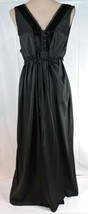Vintage 50's ELEGANT black LONG nightgown MEDIUM Nylon Velvet trim USA P... - $25.65