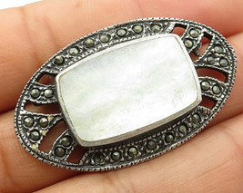 925 Silver - Vintage Mother Pearl & Marcasite Oval Struture Brooche Pin ... - $215.05