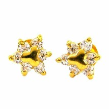 Precious CZ Studded EAR Studs PAIR 14k Solid Real Gold Screw Back - $126.35