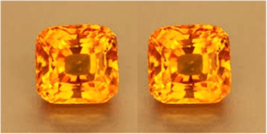 2 SAPHIRS CUSHION PADPARADSCHA ORANGE 9x9 mm. VRAC DIAMANT-BRILLANT DURE... - $29.99