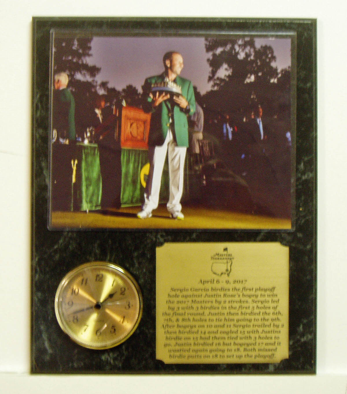 Sergio Garcia Masters 8x10 with Masters Trophy Photo Clock Plaque engraved namep