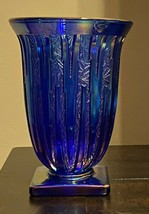 Vintage Fenton Carnival Iridescent Blue Icicle Vase - The Verlys Moulds - $229.00